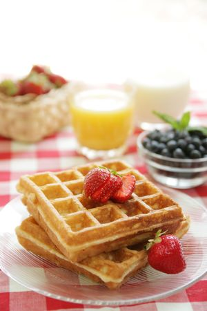 Waffles and strawberries photo