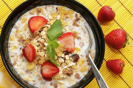 Cereals with fresh fruits photo