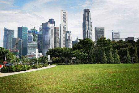 riverside landscape: View of singapore skyline by a sunny day