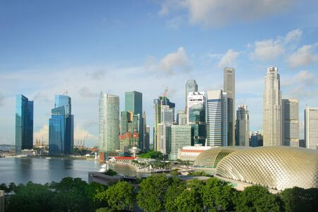 riverside landscape: View of skyline of Singapore and waterfront