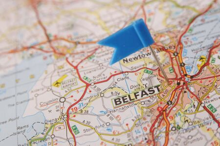 blue flag push pin on Belfast in Ireland Stock Photo - 7157414