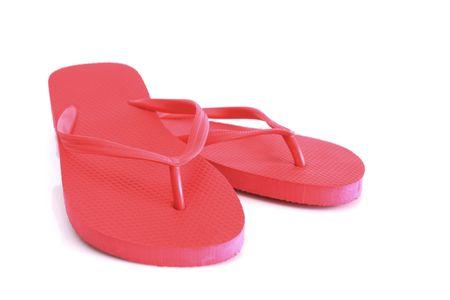 red beach sandals