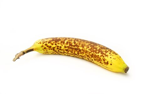 Banana with brown spot isolated on white background