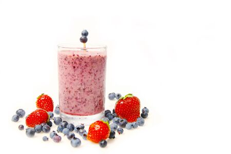 slurp: Blueberry smoothie and fresh fruits isolated on a white background