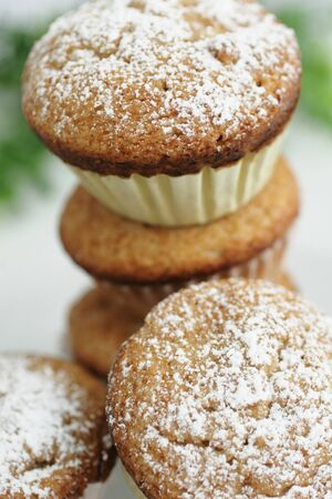 Fresh muffins with sugar powder on top Stock Photo - 8338519