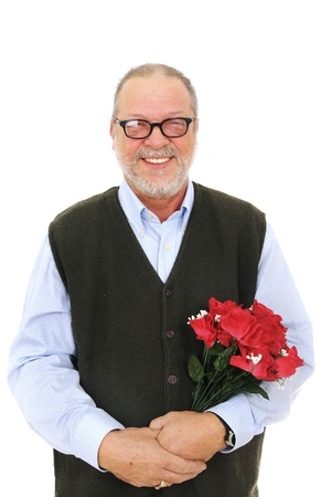 Smiling senior man holding a bouquet of red rose flowers on white background Stock Photo - 8968707