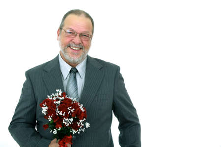 Happy father of the bride with a bouquet of red roses on white background
