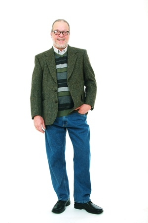 Portrait of a senior man with casual clothes on white background photo