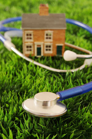 House with a stethoscope on a grass background photo