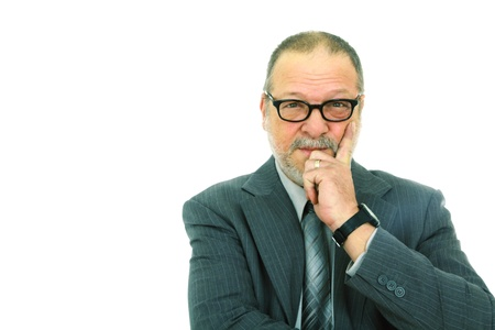 Portrait of a successful senior man with glasses on white background with copyspace Stock Photo - 8968676