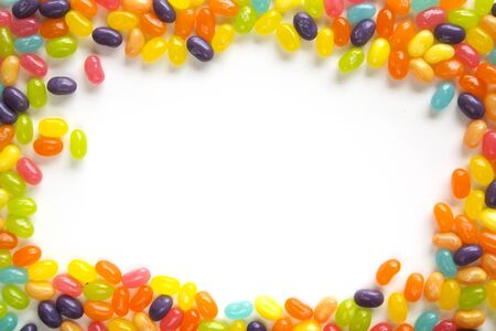 Sweet and colorful jelly beans frame Stockfoto