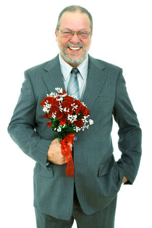 Father of the bride with a bouquet of red roses on white background Stock Photo - 8969084