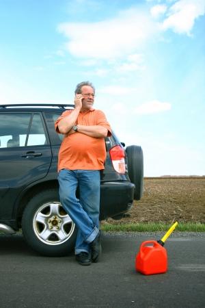 Senior man out of gas Stock Photo - 9779886