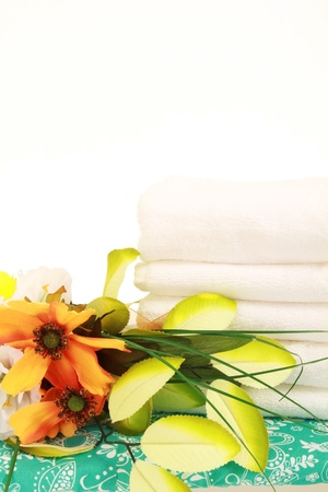 hygien: white towels and flowers for hygien and spa