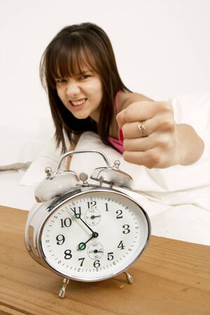 clock: Teenager angry about her alarm clock in the morning