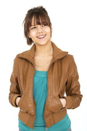 smiling teenager with leather jacket on white backgroud Standard-Bild