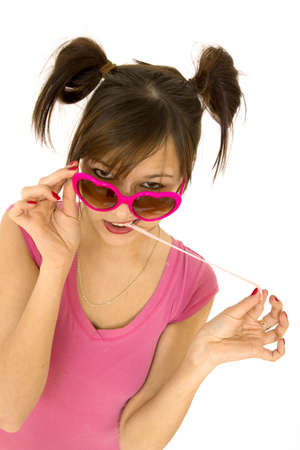 young teenager with chewing gum and attitude photo