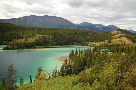 Beautiful Emerald lake in southern yukon on alaskan highway