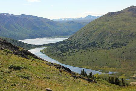 아름 다운 산과 호수 Fishlake, 유콘