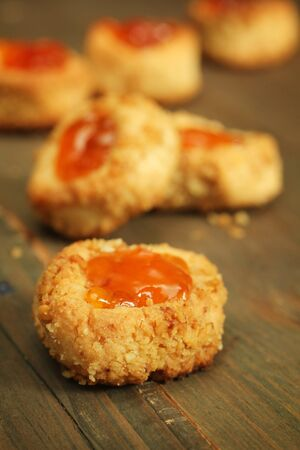 Homemade cookies with a apricot jam on top