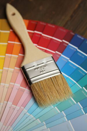 Color palette and brush with wood handle 写真素材
