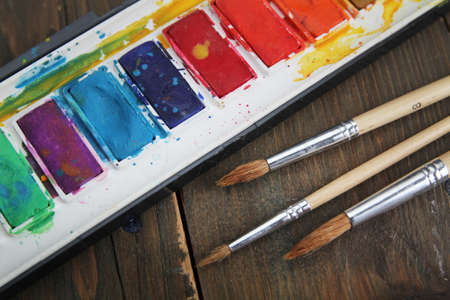 Water colors and brushes photo