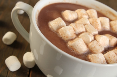 Hot chocolate with marshmallow in a white cup
