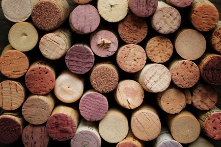 Close up of a cork wine with different variation of wine color Banco de Imagens