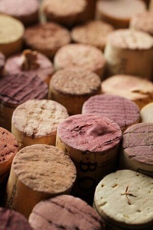 Close up of a cork wine with differente variation of wine color photo