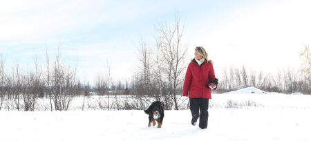 bernese: Woman with red jacket walking during winter with her dog
