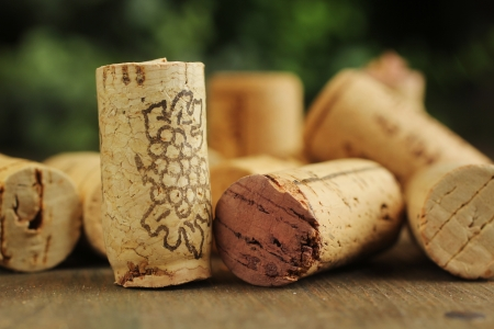 Close up of cork wine on a wooden table photo