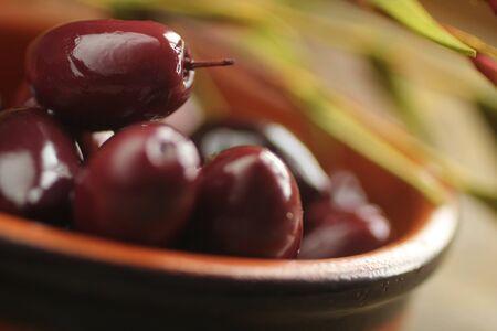 kalamata: Close up of kalamata olives into in a bowl  Stock Photo