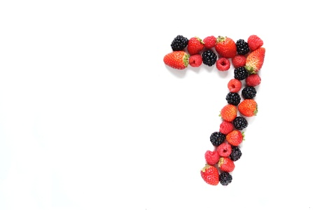 Number seven made from strawberry, raspberry and blackberry fresh fruits Stock Photo - 15928795