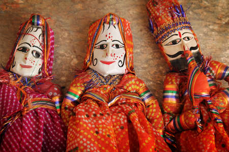 puppets: Three traditionnal indians puppets of rajasthan, India