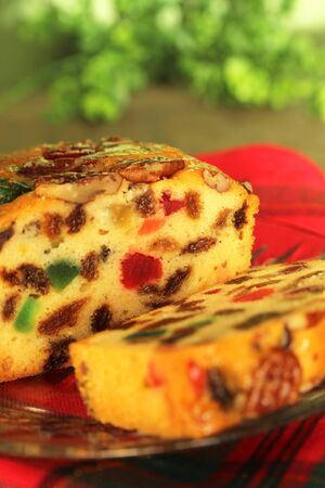 Slice of a traditionnale fruits cake for christmas Stok Fotoğraf - 16693770