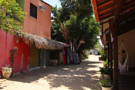 Colorful little sand alley in Jericoacoara village in Brazil with plants and houses
