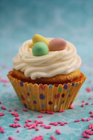 cup cakes: Vanilla cupcake with a nest and three eggs on top Stock Photo