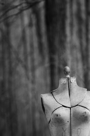 Abandonned mannequin in a forest in black and white