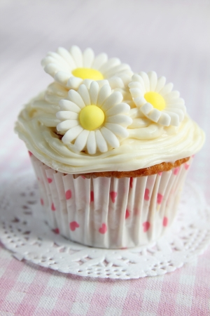 Cupcake with daisy on top on a  pink and white checkered tableclothe photo
