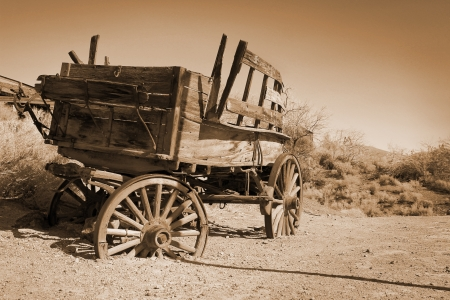 Antique carriage use durint farwest in a meadow in sepia photo