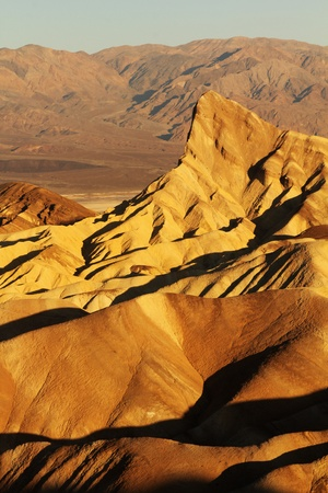Close up of zabriskie Point surrounded by a maze of vibrantly yellow badlands photo
