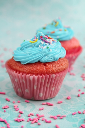 Two pink cupcakes with blue icing on a aqua background photo
