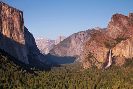 bridalveil fall: Panoramic view of bridalveil fall and El Capitan at Yosemite national park in California