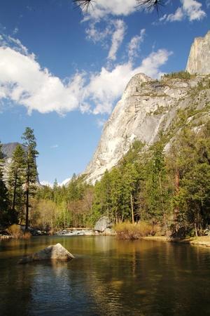half dome: Half dome and mirror lake at Yosemite national park in California
