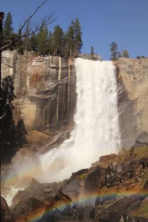 vernal: Vernal fall and rainbow at Yosemite national park in California