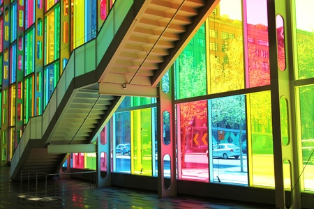 pannel: MONTREAL, CANADA- MAY 06 2013:  Main facade of congres center in Montreal  downtown with multicolored glass pannel created by Mario Saia on 2002 in Montreal, CANADA Editorial