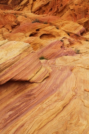 Pink and orange stratified rocks at Valley of fire