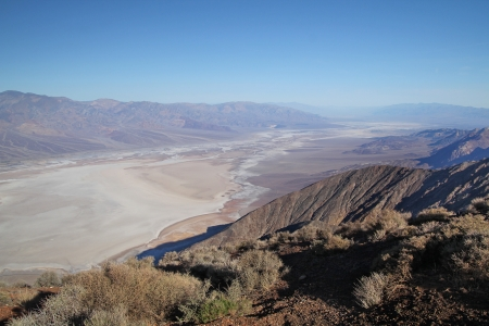 Beautiful view of the badwater salt lake in Death Valley national park from Dantès view photo