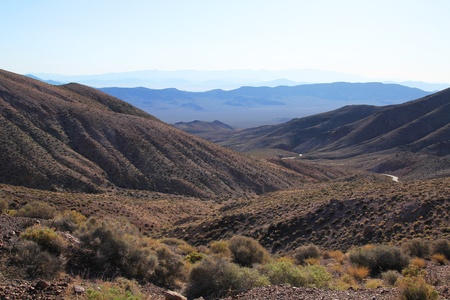 Beautiful landscape of the mountains and vegetation at Dantes View in Death Valley  photo