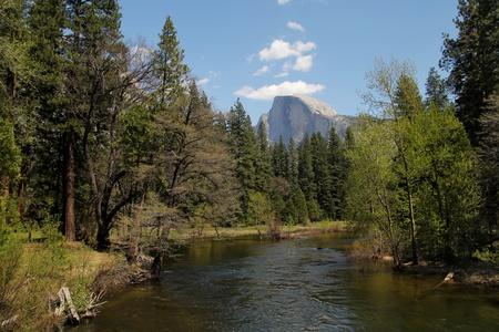 merced: Merced river and El Capitan in background at Yosemite national park in California